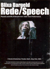 "BARGELD, BLIXA ""REDE/SPEECH"" (DVD)"